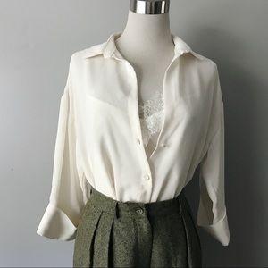 Zara Basic Cream Ivory Layered Lace Button Up Top